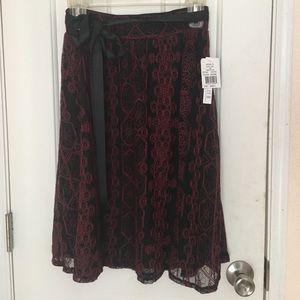 Joe B Skirts - Joe B black and red lace midi skirt w/ ribbon sz s